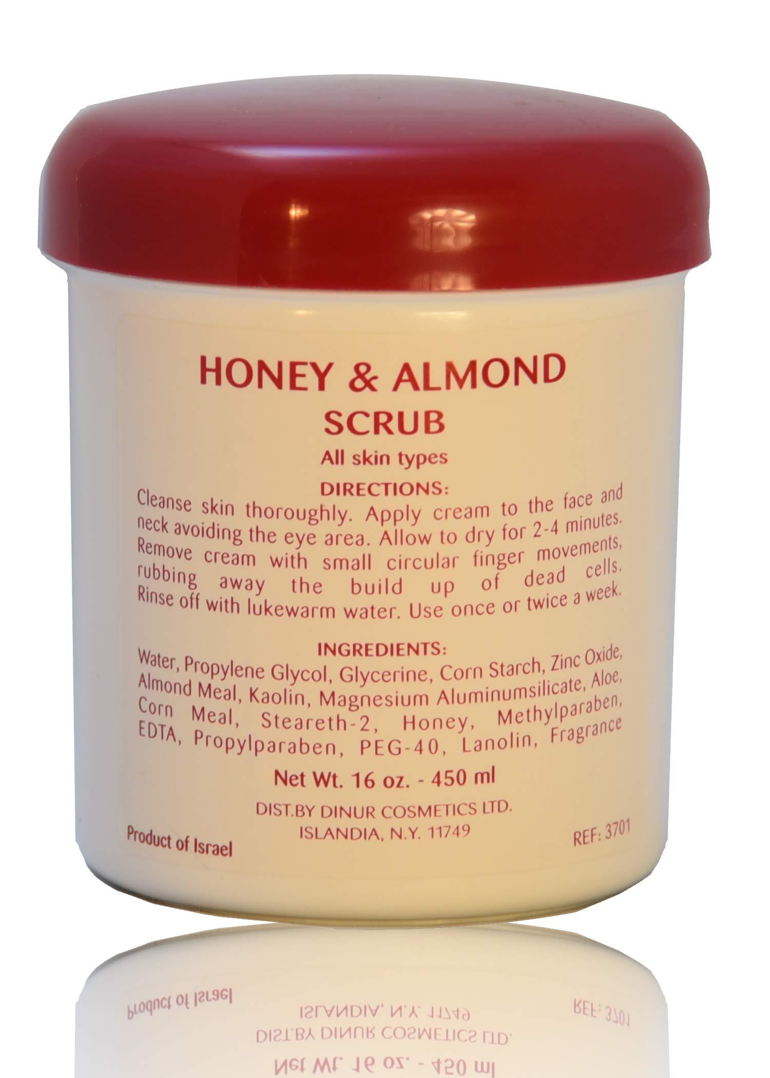 Dinur Cosmetics HONEY and ALMOND SCRUB 16 OZ. EXFOLIATOR FOR ALL SKIN TYPES