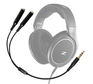 DURAGADGET Práctico Divisor De Auriculares Para Auriculares Sennheiser HD 598 | Aukey EP-B26 |