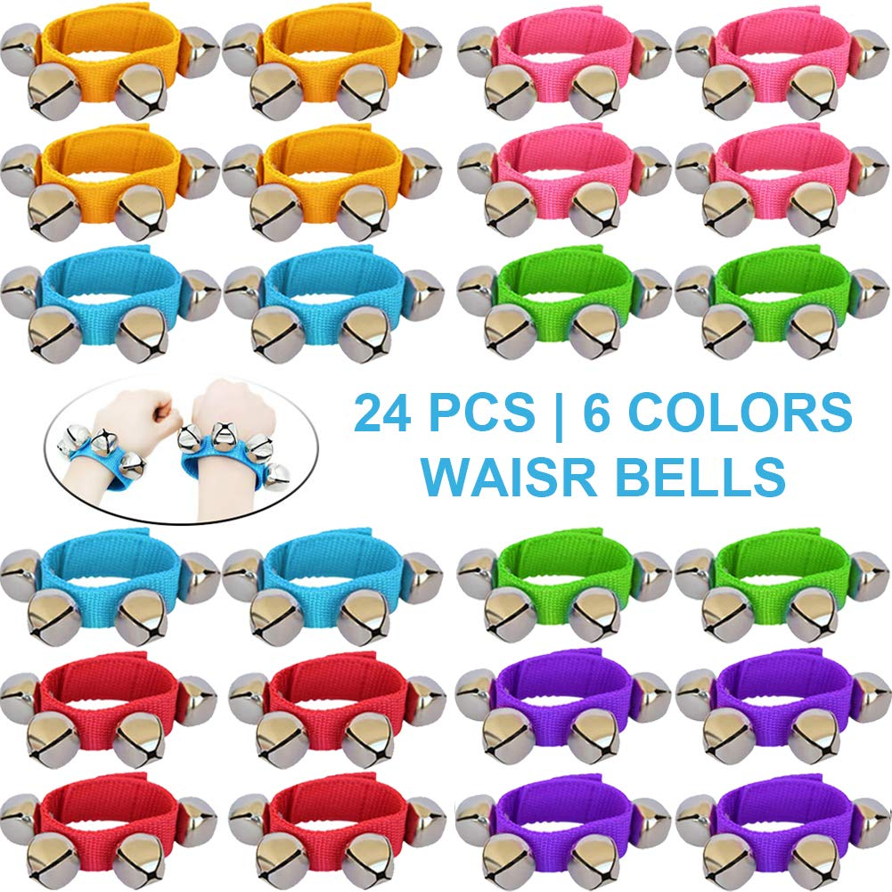 ZISUEX 24PCS Band Wrist Bells Jingle Bells Instrument Percussion Musical Orchestra Rattles Party Favors Toys Wrist Bells and Ankle Bells KTV Birthday Gifts by ZISUEX