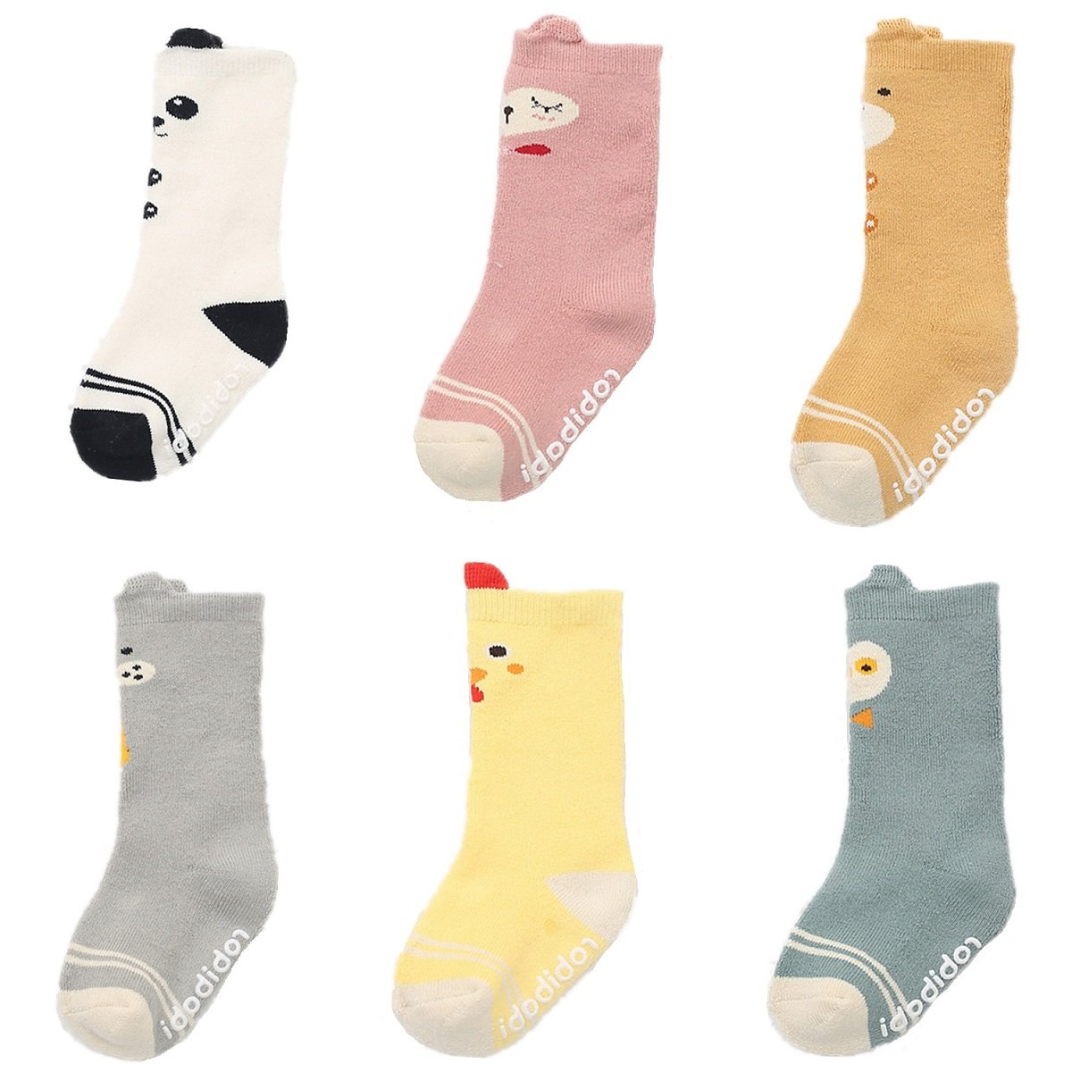 Baby Toddler Boys Girls Socks, Newborn Anti Slip 6 Pairs Thick Warm Cotton Stockings (0-2 Years)