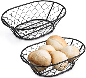 Yesland 2 Pack Rope Metal Oval Bread Basket, 9 1/2 × 6 1/2 × 2 Inches, Bread Proofing Basket for Professional & Home Bakers