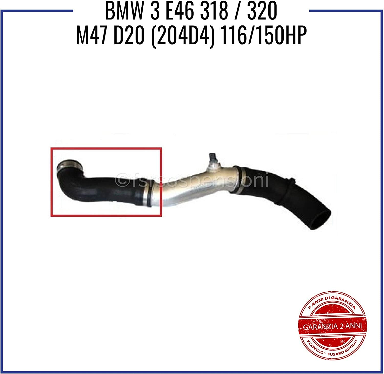 B M W 3 E46 3.18 3.20 M47 D20 MANICOTTO INTERCOOLER TUBO TURBO 11617799397 11617791393
