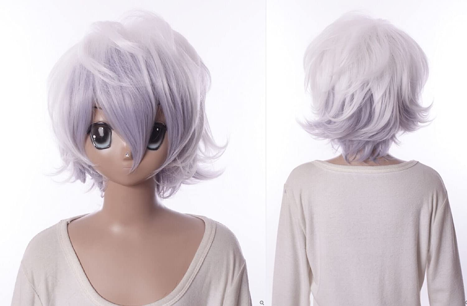 Kawaii-Story W de 566 Devil Survivor angui Shed One Alcor Blanco Lila Mix 34 cm Cosplay Peluca Wig: Amazon.es: Juguetes y juegos