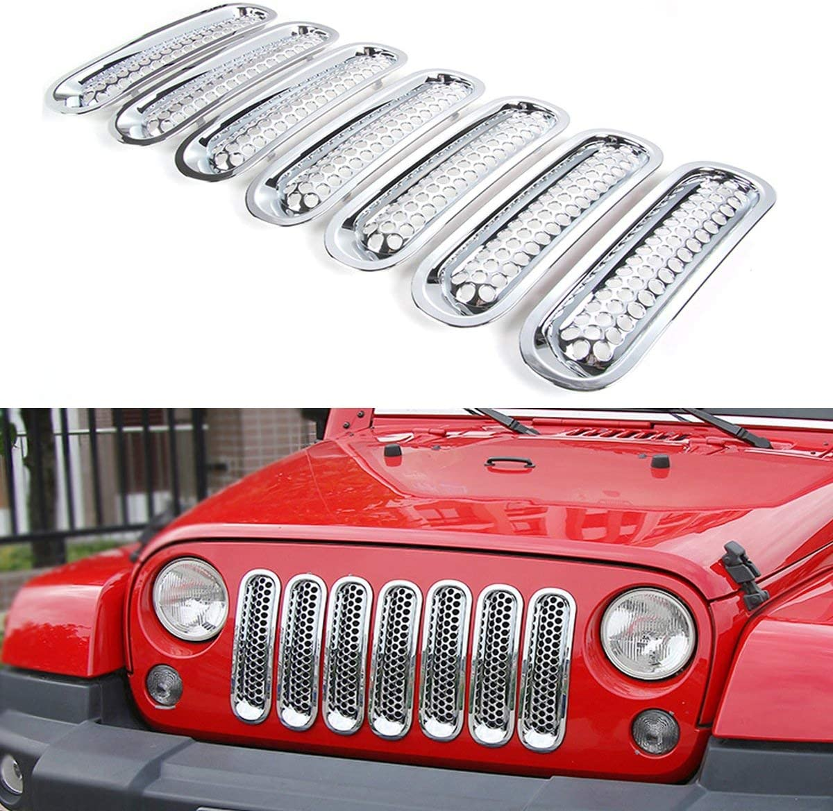 Athiry Car Front Mesh Grill Inserts Grilles Cover for Wrangler JK 2007-2015 Unlimited Sport Rubicon Sahara Pack of 7 Black