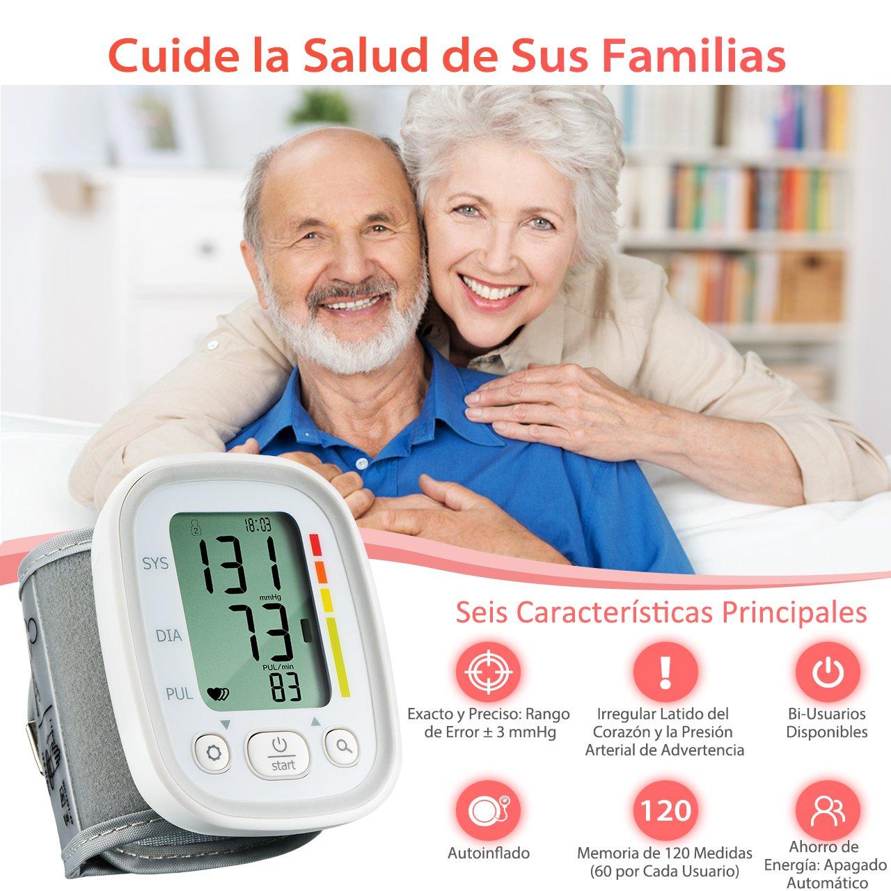 Mpow Tensiómetro de Muñeca, Automático con Muñequera Ajustable y Pantalla Grande, Aprobado por CE, Bidedutador con 120 Memorias, Presión Arterial Irregular ...