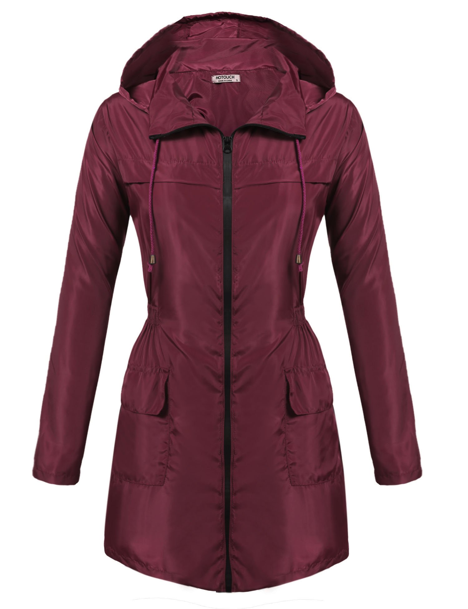 HOTOUCH Women's Lightweight Hooded Raincoat Waterproof Packable Active Outdoor Rain Jacket Wine Red L