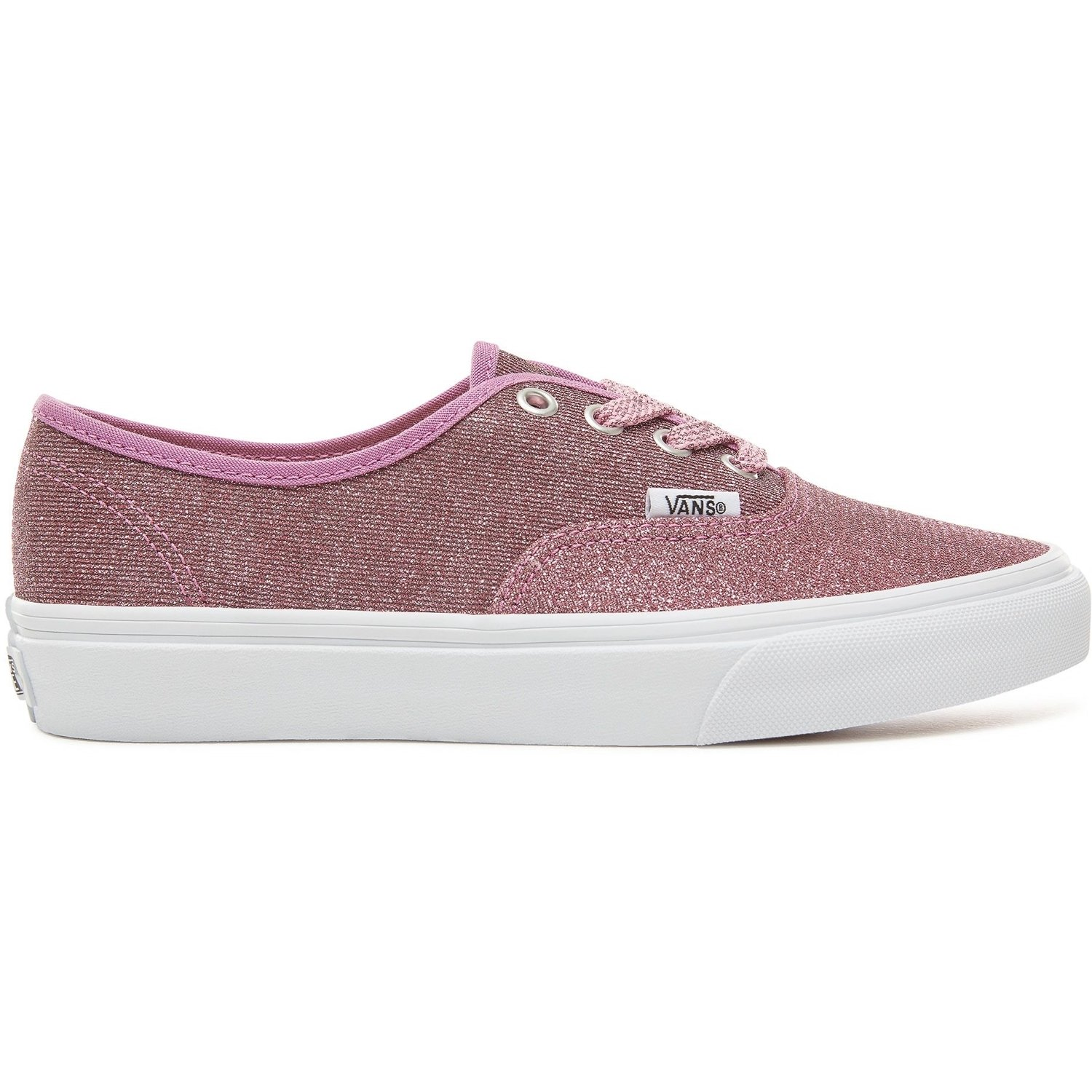 Vans Lurex Glitter Authentic Unisex Womens Skateboarding-Shoes VN-0A38EMU3U_6 - Pink/True White Glitter