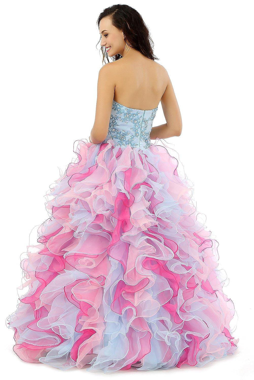 Beauty-Emily sin tirantes de bola Escote Corazón bordado del vestido ...