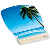 "3M Precise Mouse Pad with Gel Wrist Rest, Soothing Gel Comfort with Durable, Easy to Clean Cover, Optical Mouse Performance, Fun Beach Design (MW308BH), Blue Beach,9""*7.5"""