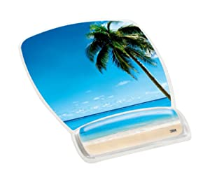3M Precise Mouse Pad with Gel Wrist Rest, Soothing Gel Comfort with Durable, Easy to Clean Cover, Optical Mouse Performance, Fun Beach Design (MW308BH), Blue Beach