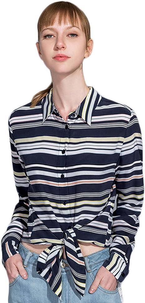 XCXDX Camisa De Seda A Rayas De Moda, Blusa Casual para Mujer, Top De Manga Larga para Damas De Oficina De Primavera: Amazon.es: Deportes y aire libre