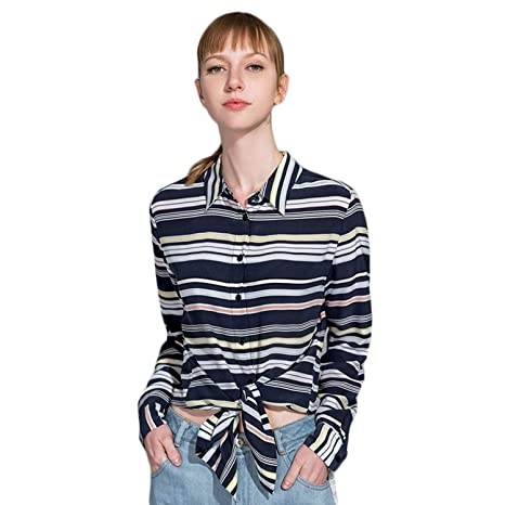 XCXDX Camisa De Seda A Rayas De Moda, Blusa Casual para Mujer, Top ...
