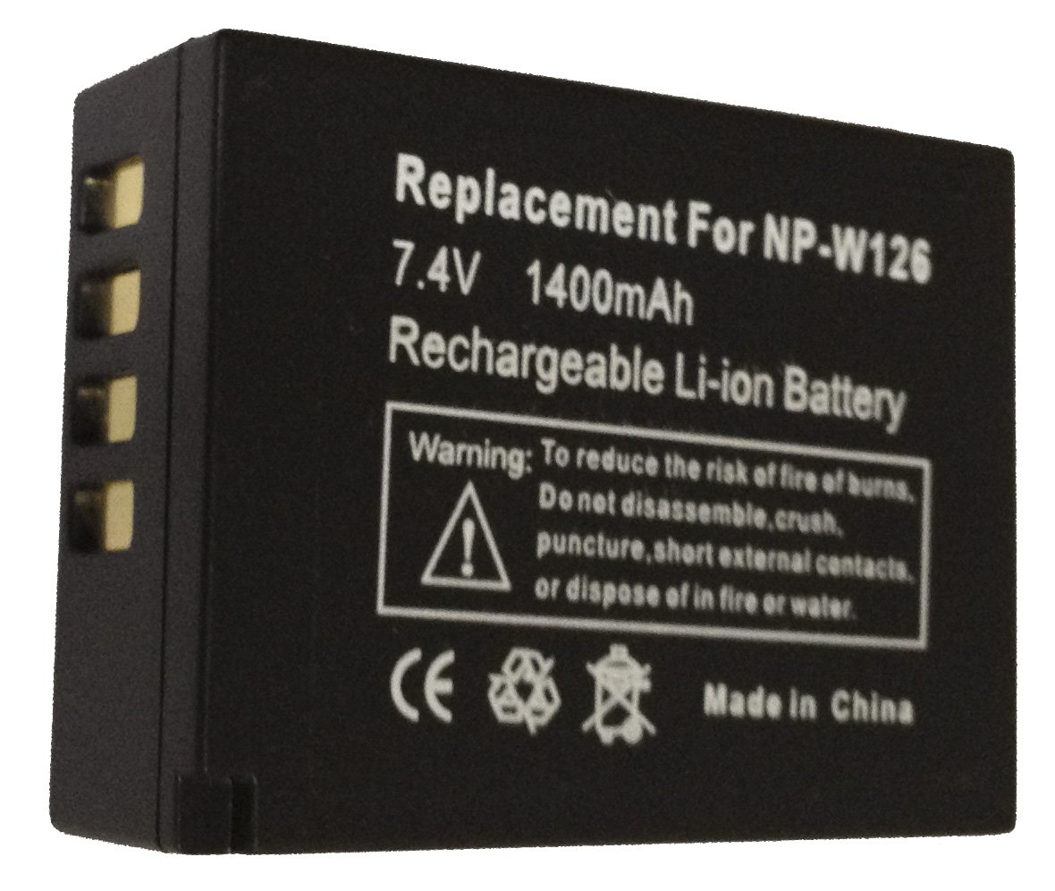 Fuji NP-W126 Replacement Lithium-Ion Battery, 7.4 volt 1400mAh, for Fujifilm X-Pro1, FinePix HS30EXR, HS33EXR Cameras