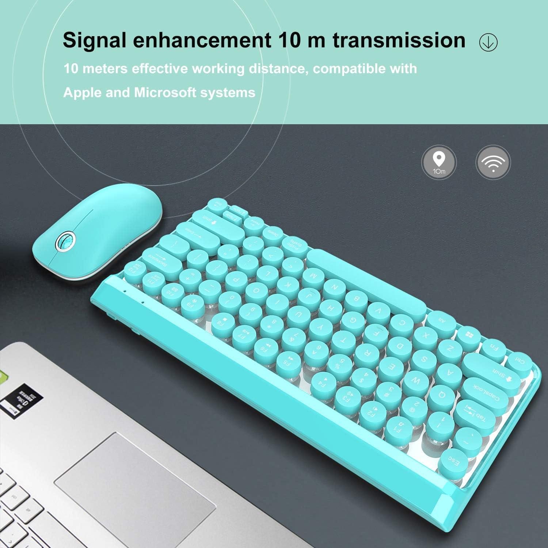 DishyKooker HXSJ L100 Wireless Keyboard Set 2.4G Wireless Keyboard Punk Key Cap Ultra-Thin Mouse Keyboard Set L100-Pink Suit Electronic Product