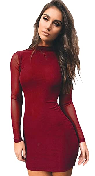 dfb57a220191 Longwu Women's Sexy Long Sleeve Mesh Patchwork Dress See Through Evening  Cocktai Party Wear Red Wine