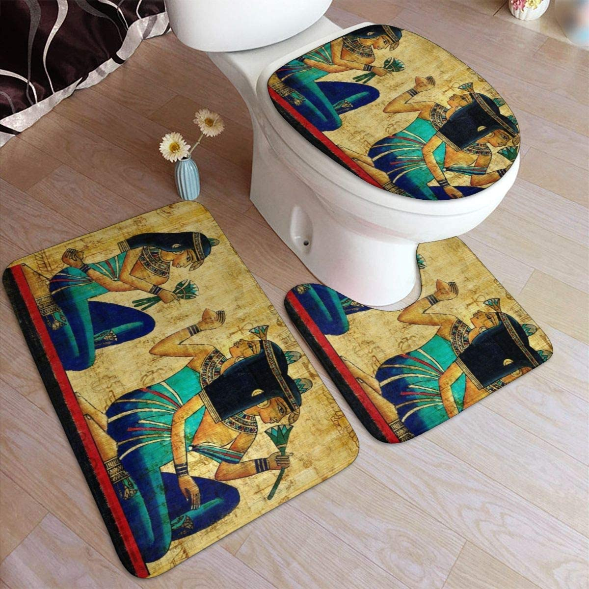 Taroot AA Pintura al óleo Arte Mujer Africana Confort Franela Alfombra de baño Alfombrillas Set 3 Piezas Suave