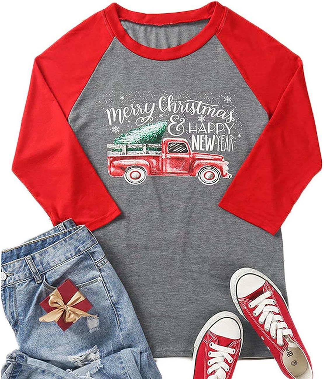Merry Christmas and Happy New Year T Shirts Women Christmas Tree Truck 3/4 Sleeve Splicing Baseball Tee Tops