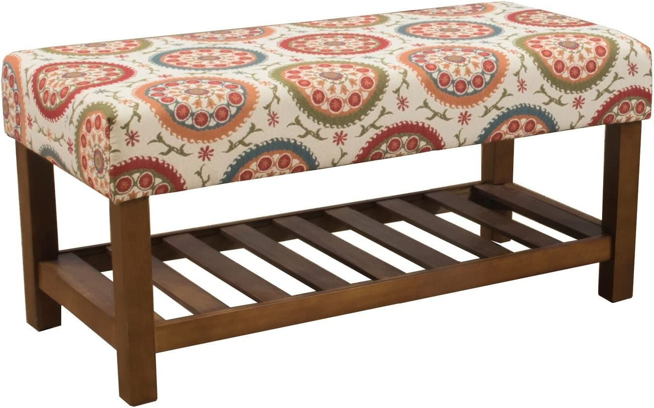 HomePop Upholstered Entryway Bench with Wood Shelf, Orange Suzani