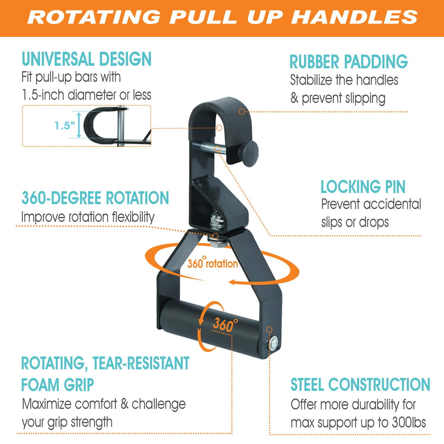 Pull-ups Chinning Bar Attachment Universal Fitting with Snap Hook Fitting by Gymnastics Rings Pull Up Handles With Hook DEMON PULL-UP Handles Gymnastics Pull-Ups Hanging Gym Straps//Handles for Men//Women AB Handles