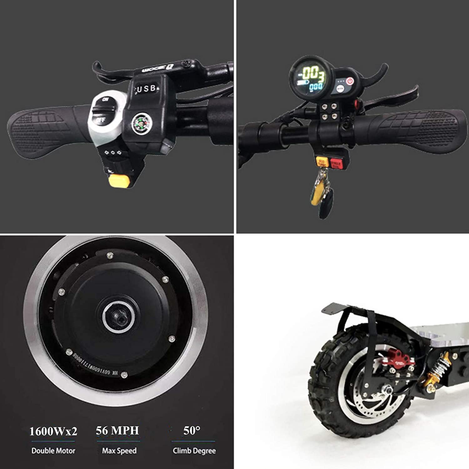 OUTSTORM 56MPH Ultra High Speed Electric Scooter for Adults Foldable, 3200W Peak Power Dual Motor| 60V / 20-35Ah Battery | 43-67 Miles Distance | ...