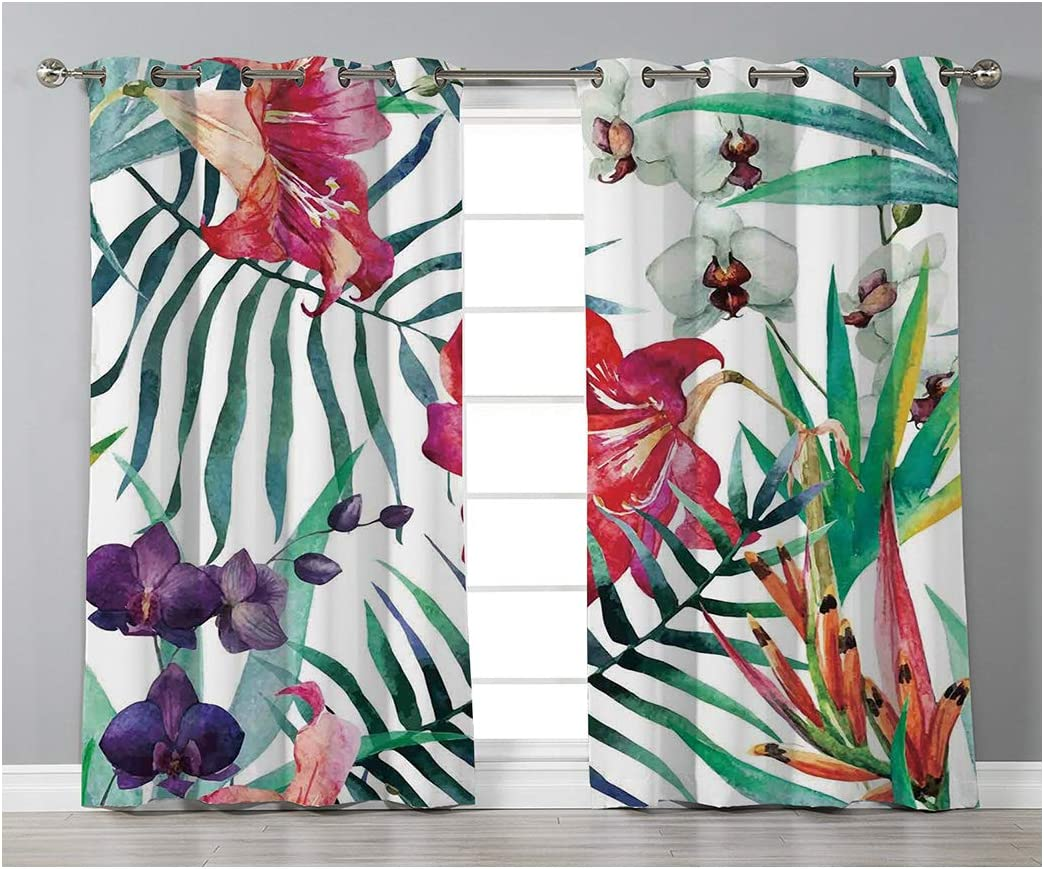 Goods247 Blackout Curtains,Grommets Panels Printed Curtains for Living Room Set of 2 Panels,55 by 95 Inch Length ,Watercolor Flower