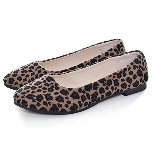 60c15790742ca Memorygou Women's Slip On Flats Shoes - Casual Pointed Leopard Print Plain  Loafers Ballet Flat Sneakers
