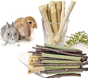Supmaker Bunny Chew Toys, Rabbit Hamster Toys with Apple Wood Sticks Teeth Grinding Toy for Rabbits Bunny Hamster Parrot Chinchillas Guinea Pig Gerbils Chewing