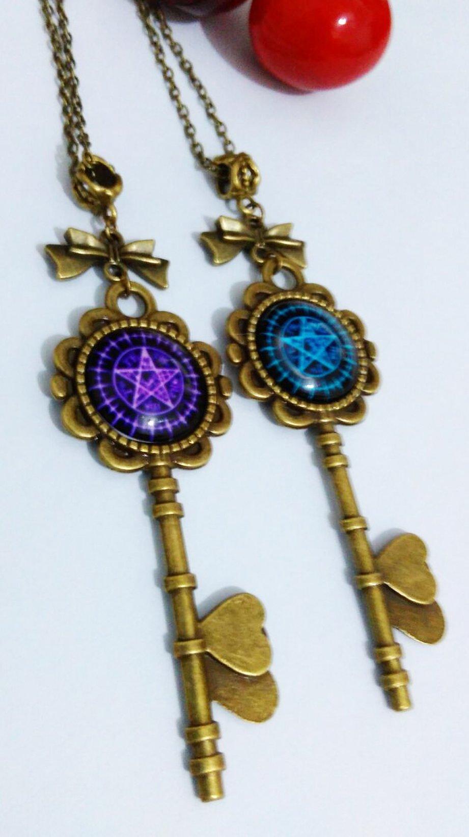 Dreamcosplay Black Butler Magic Symbol Key Necklace 2PCS