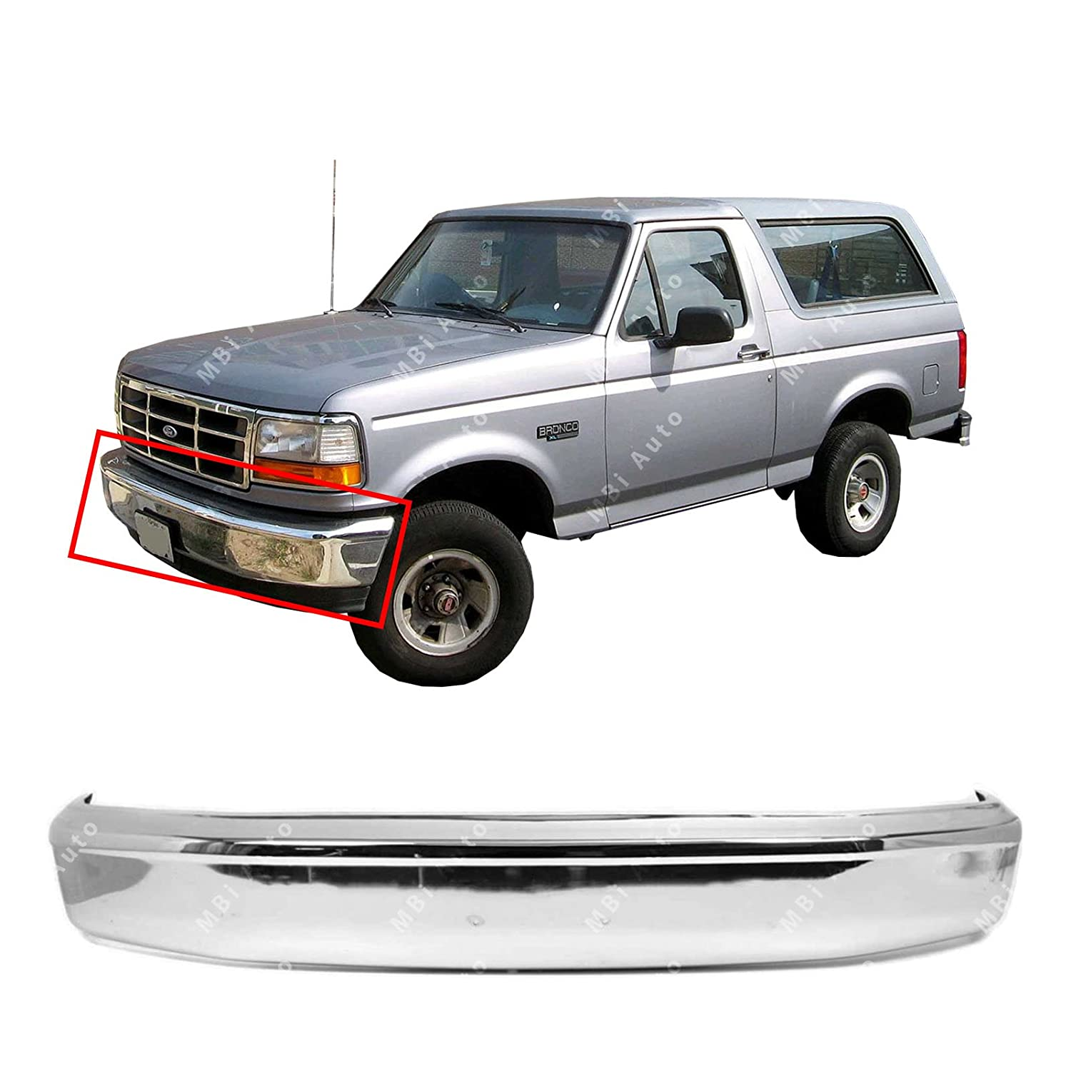 MBI AUTO - Chrome, Steel Front Bumper Face Bar for 1992-1996 Ford F150 & Bronco W/Out Pad Holes 92-96, FO1002236