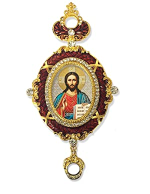 Religious Gift Russian Icon Christ The Teacher Blue Framed Icon Pendant Crown 5 3/4 Inch