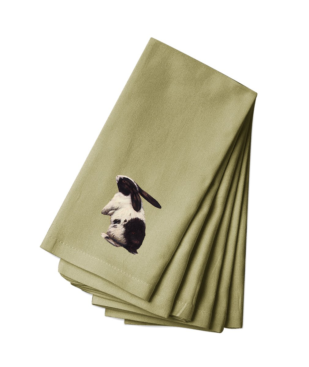 Style in Print Canvas Napkin Set Of 4 Black And White Bunny Pets Animals By