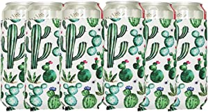 6Pack Slim Can Sleeve Soft Neoprene Insulator Can Cooler 12oz Skinny Beer Coolies Cover Thick Tall Beverage Holder Bag for Energy Drink & Beer Cans, Cactus
