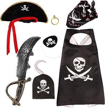 vamei Disfraz Pirata Niño con Pirata Accesorios Pirata Sombrero ...