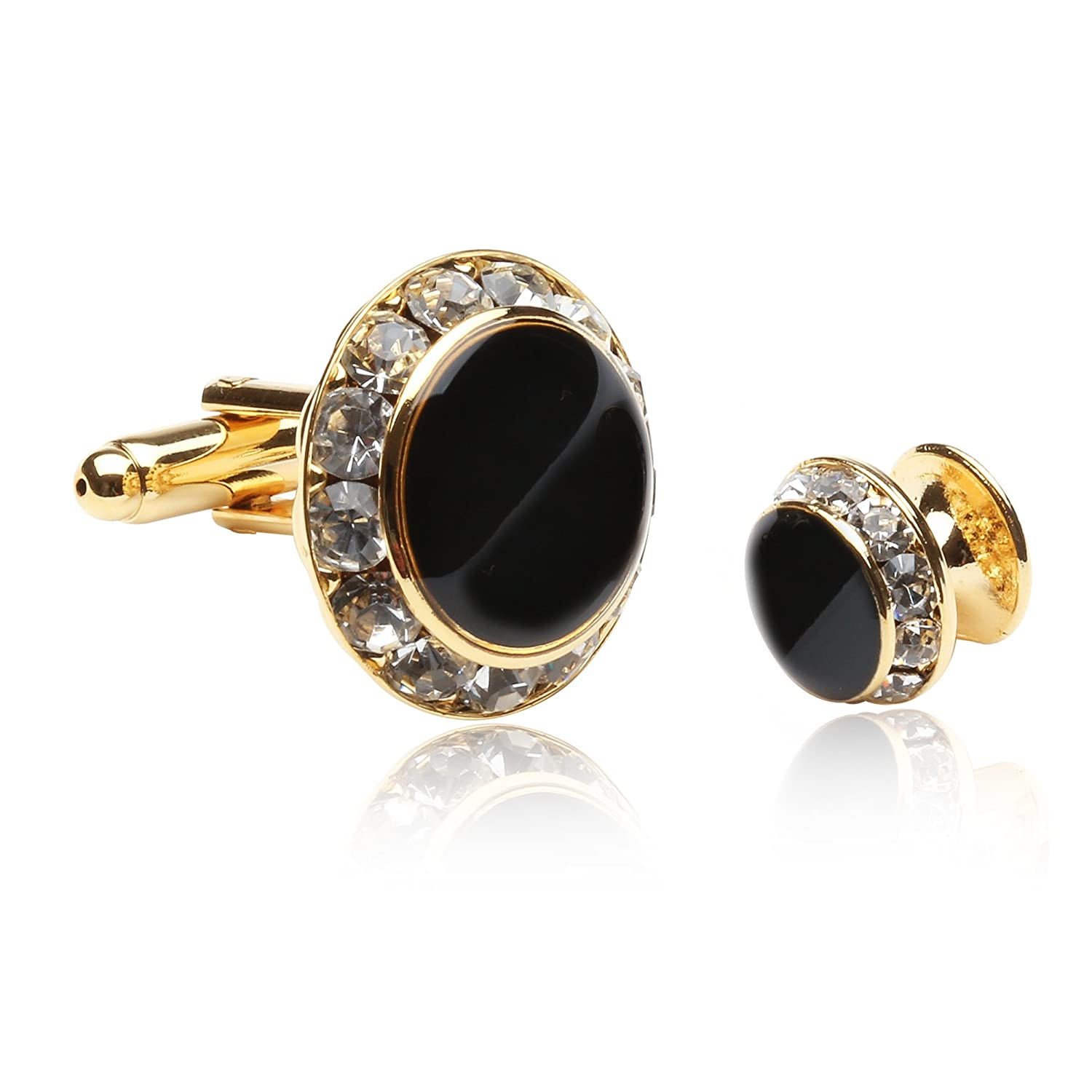 Enamel and CZ Gold-Plated Formal Set Cufflinks and Studs by Cuff-Daddy