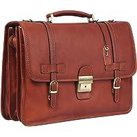 Banuce Vintage Men's Briefcase Full Grain Italian Leather Messenger Bag Lock Lawyer Bag Shoulder Attache Case Business Executive Tote 14 inch Laptop Bag Brown