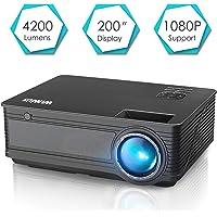 Beamer, WiMiUS 4200 Lumen Videoprojektor, Full HD 1080P unterstützt Heimkino Projektor, Kontrast 4000:1, HDMI VGA AV TF USB Kompatibel mit Amazon Fire TV Stick / Laptop / Mobil usw.