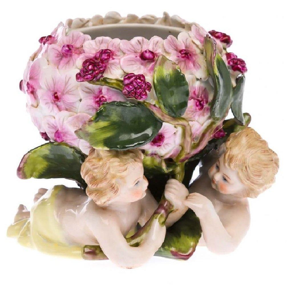 Porzellan Engel Blumen Schale Zierschale Figur Engelfigur antik Stil porcelain
