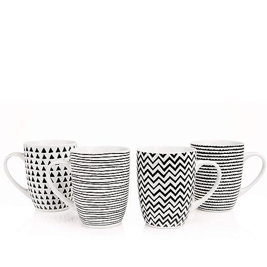 Sabichi Geo Dibujo 4 Piezas Taza Juego Porcelana Té Café Tazas ...