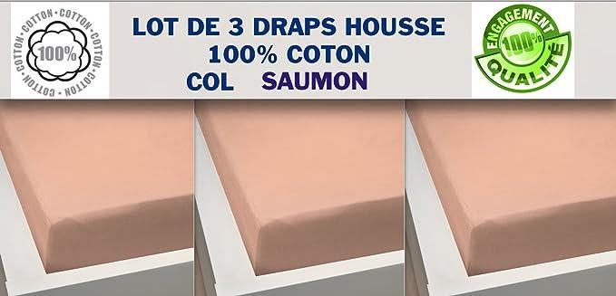 Lote de 3 sábanas bajeras 160 x 200 salmón 100% algodón: Amazon.es: Hogar
