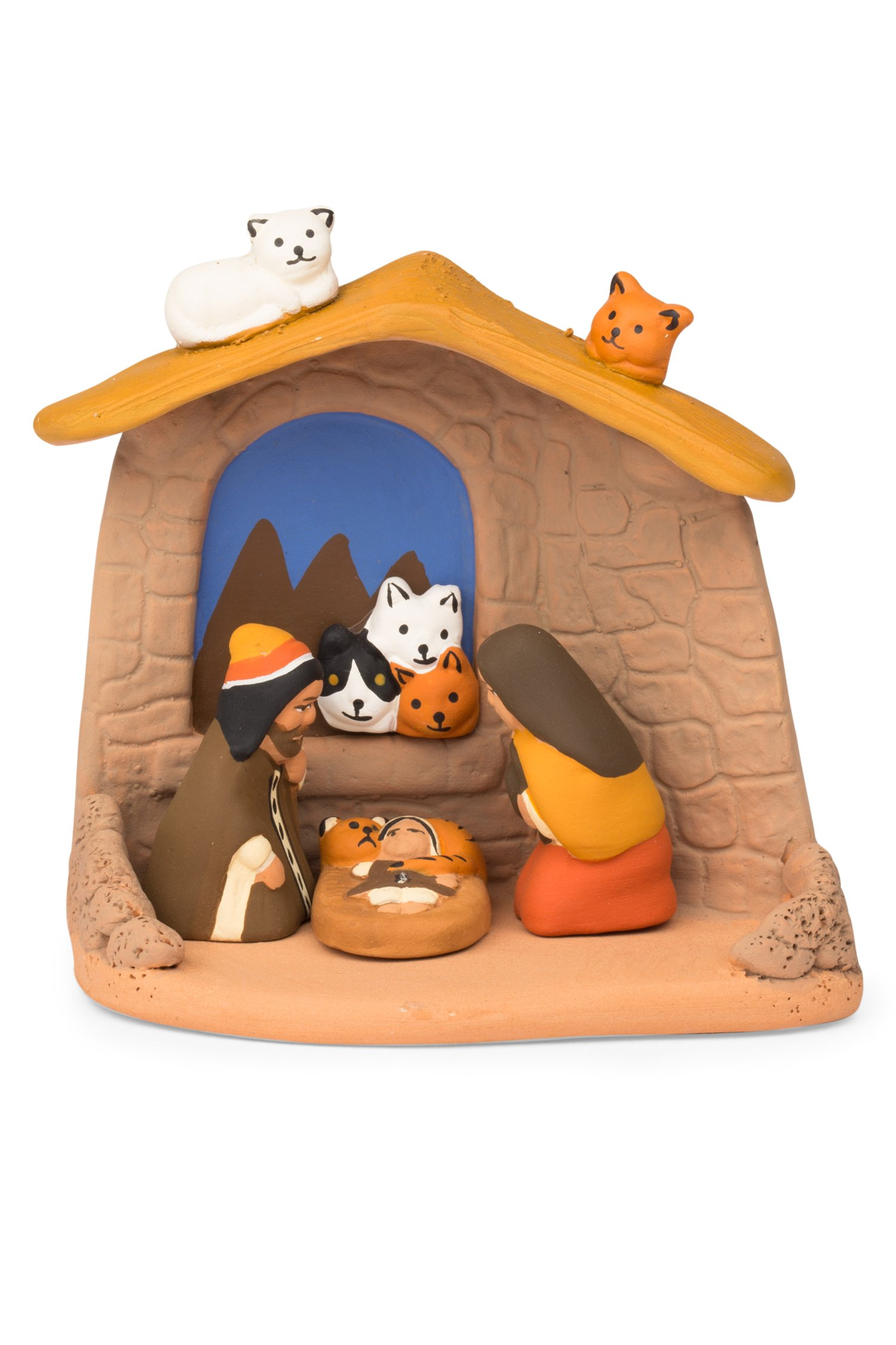 Ten Thousand Villages Cats In The Window Ceramic Nativity 'Cat Lover's Nativity'