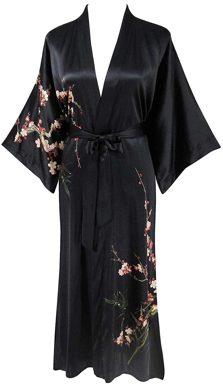 Blacka Ledamon Women's 100% Silk Kimono Long Robe  Classic colors and Prints