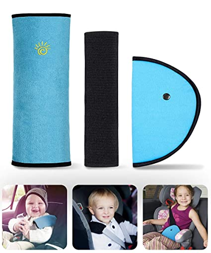 WOMUMON Seat Belt Pillow and Adjuster Kit for Kids Super-soft Velvet Head Neck Support Cushion and Safety Belt Protection Pad for Kids