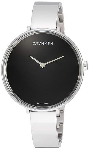 Calvin Klein - Reloj de Pulsera analógico para Mujer (Cuarzo, Talla única), Color Negro y Plateado: Amazon.es: Relojes