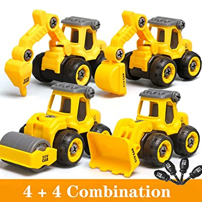 Pull Back Construction Vehicles Set, 4 Pack DIY Take Apart Toys Construction Trucks with 4 Screwdriver Tools, Kids Building Cars Birthday for Boys Toddlers 3,4,5,6,7 Year Olds: Toys & Games