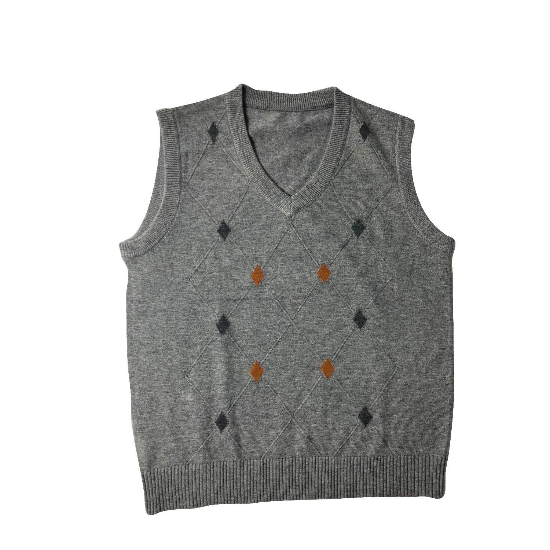 Eradria Mens Relaxed Fit V-Neck Diamond Pattern Classic Soft Knitwear Warm Sweater Tank Tops