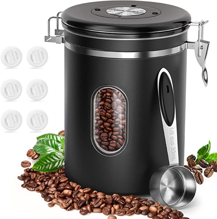 Coffee Food Canister with Scoop, HOKEKI Airtight Stainless Steel Food Jars Kitchen Container for Beans Grounds, Tea, Sugar Flour and Dry Goods Storage with Clear Window, 22oz (Black)