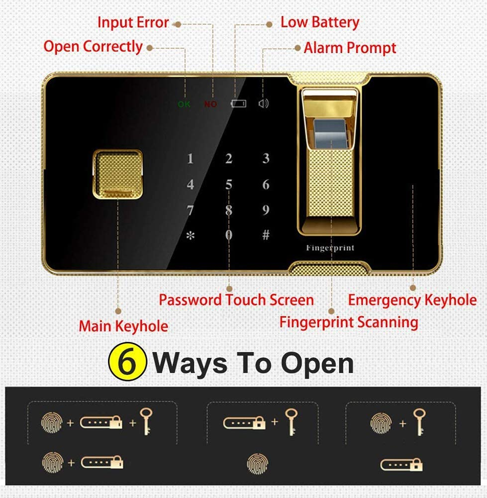 Hotel Office Commercial Jewelry Cash Use Storage Y-BXX Small Fireproof Safe Brown 36x30x40cm Fingerprint Recognition Electronic Safe