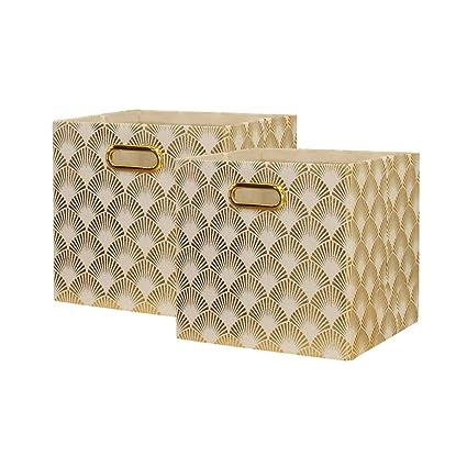 BAIST Cube Storage BinsFoldable Square Gold Fabric Decorative Cubby Storage Cubes Bins Baskets For  sc 1 st  Amazon.com & Amazon.com: BAIST Cube Storage BinsFoldable Square Gold Fabric ...