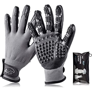 Kaier cat Pet Grooming Gloves - Left-Right Enhanced Five Finger Design Gentle Deshedding Brush Mitt for Cats Dogs Horses Long Short Fur