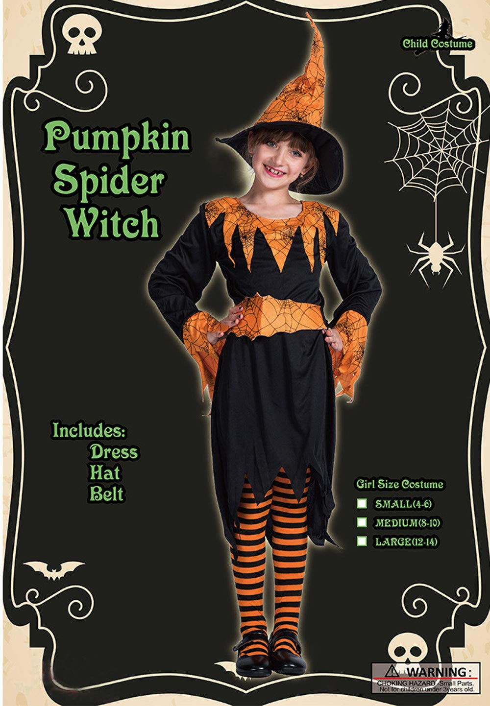 Little Girls Long Sleeve Halloween Pumpkin Witch Dress Up Set Cosplay Outfit L for 12-14 Y by Eraspooky (Image #7)